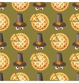 Seamless Thanksgiving day pattern with pumpkin pie vector image