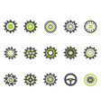 gear and cog iconsgreen series vector image vector image