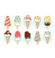 ice cream icons of different types and shapes vector image