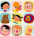 Children and animals seamless pattern vector image