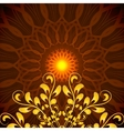 Glowing Orange Mandala with floral ornament vector image