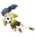 A girl catching the soccer ball vector image