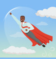cartoon afro-american man with superhero cloak vector image