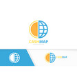 coin and planet logo combination money and vector image