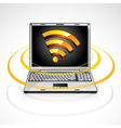 Laptop with rss feed symbol vector image