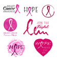 pink ribbon stickers from brushstrokes vector image