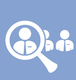 Staff search icon - finding a skilled employee vector image