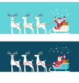 Santa Claus on sleigh and his reindeers vector image