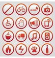 warning signs with red icons vector image vector image
