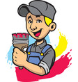 smiling painter man vector image vector image