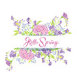 rectangular frame with flowers and calligraphic vector image