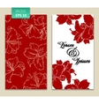 card template with red flowers vector image vector image