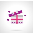 Cute pink gift box flat icon vector image