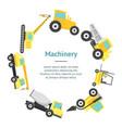 cartoon construction machinery banner card circle vector image