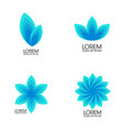 modern set blue abstract flowers trendy vector image