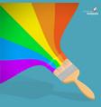 raibow brush with rainbow paint vector image