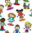 Seamless stick figure kids vector image