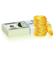 Stack of Dollar and Gold Coins vector image