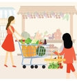 woman girl mom shopping using cart buy vegetable vector image