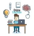 education online man desk laptop vector image