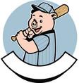 pig baseball player vector image vector image