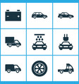 automobile icons set collection of crossover vector image