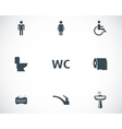 black toilet icons set vector image