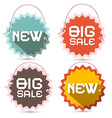 Big Sale and New Title on Toothed Labels with vector image vector image