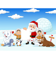 Santa Claus holding blank sign with friends vector image