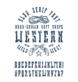 Serif font in the western style vector image