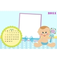 Babys calendar for august 2011 vector image