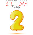 Invitation card for the celebration of 2 years vector image