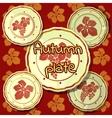 Set of autumn plates porcelain dishes vector image