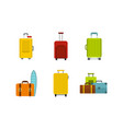 travel bag icon set flat style vector image