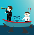 Two Businessman on Leak sinking boat with sharks vector image