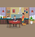 woman is cooking and the man is having lunch vector image