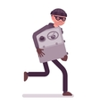 Thief in a black mask stole safe and is running vector image
