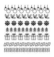 Christmas Hand drawn set of line frames vector image