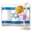 A gymnast in front of the Israel flag vector image