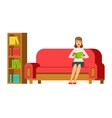 Woman Sitting On The Sofa Reading A Book Next To vector image