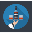 Whiskey bottle with two glasses vector image