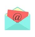 open envelope with red paper sheet and at sign vector image