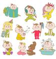 Baby Girl Cute Doodle Set vector image