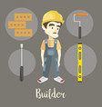 Builder on a dark background vector image