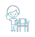 cute african boy with school chair character icon vector image