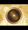 gold speaker with equalizer background and glowing vector image