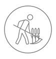 Man mowing grass with scythe line icon vector image