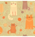Seamless pattern with cute cats and balls of yarn vector image