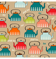Seamless pattern with vintage Kettles vector image