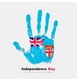 Handprint with the Flag of Fiji in grunge style vector image